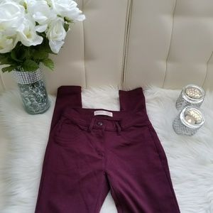 Pants - Berry polyester skinny pants
